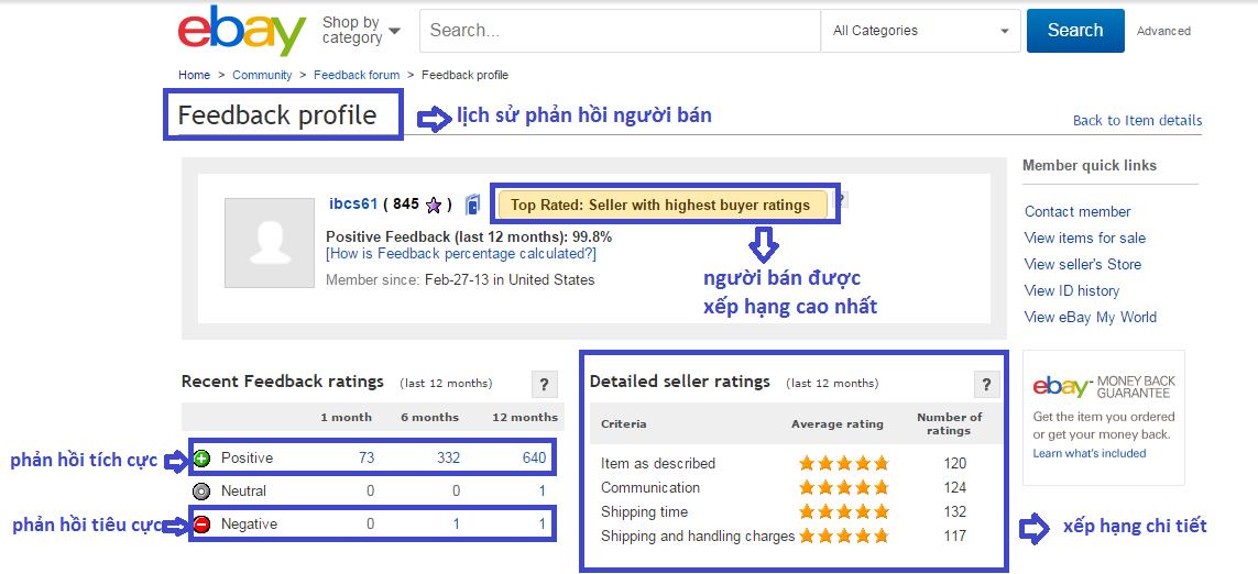 Kinh nghiệm chọn người bán khi mua hàng trên ebay
